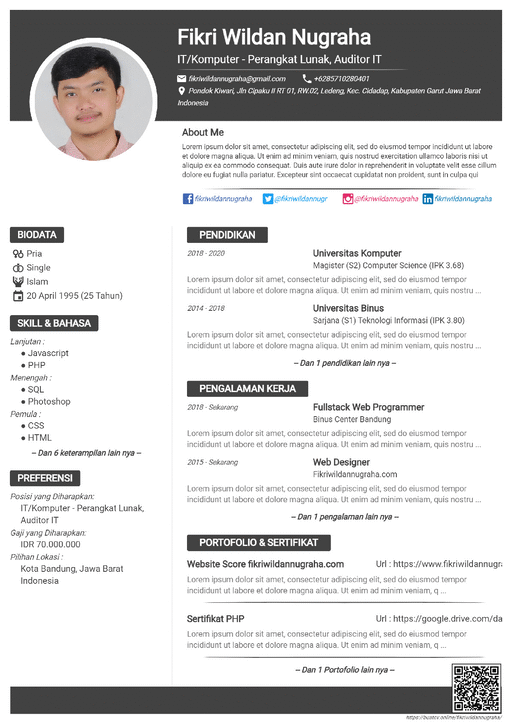Curriculum Vitae Default Gray - Bikin CV di HP