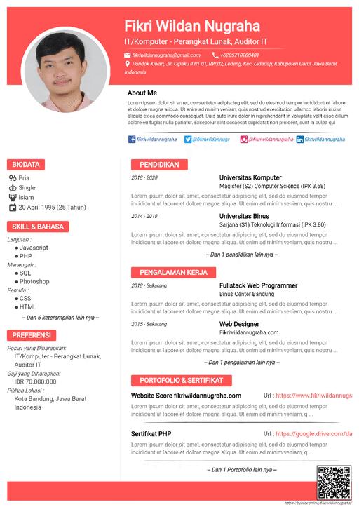 Curriculum Vitae Default Pink - Resume Maker