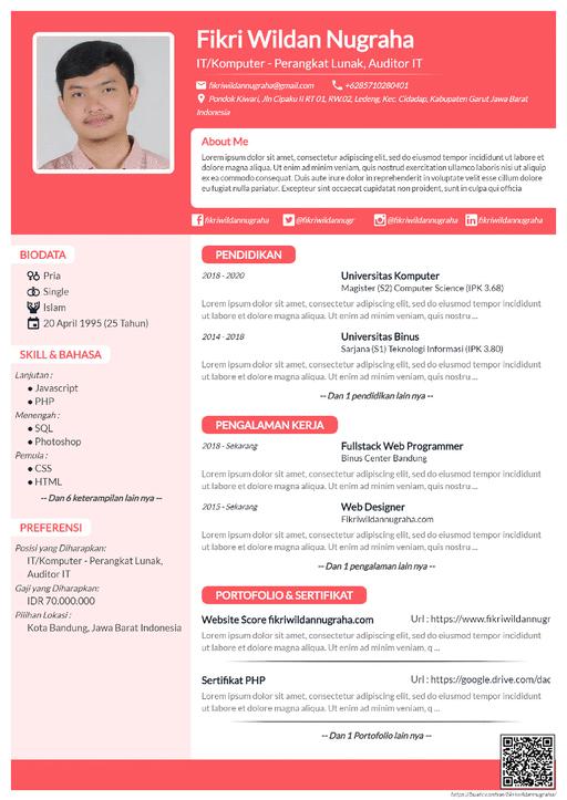 Curriculum Vitae Simple Pink - CV Unik