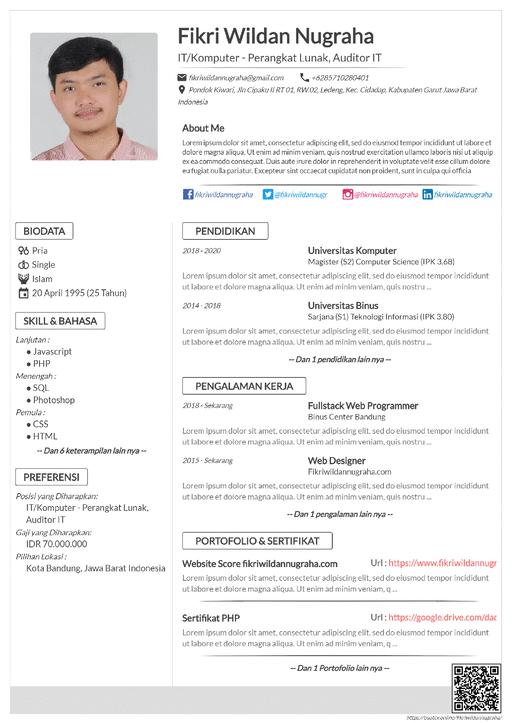 Curriculum Vitae Simple - CV Sederhana Mudah